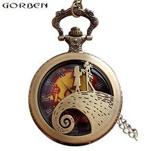 Nightmare Before Christmas Steampunk Pocket Watch Necklace Antique Men Women Pocket Watches Chain Vintage Quartz Clock Fob Watch