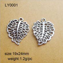 Buy High 25 Pieces/Lot 19x24mm Antique Silver Plated Hollow Leaves Charm Jewelry Making for $2.80 in AliExpress store