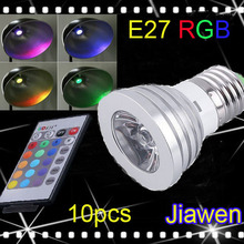 10PCS/lot, Energy saving+Remote Control 16 Colors Changing RGB LED Lamp,3W E27 RGB LED Bulb ,85-265V LED light, free shipping