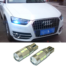 2PCS T10 LED W5W Car LED Auto Lamp 12V Light Bulbs With Projector Lens For Audi A8 A7 A5 A6 A4 A3 A1 TT Q7 Q5 Q3 Sline R8 RS