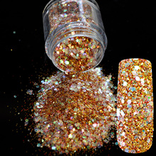 Gold Red Glitter Mix UV Nail Art Glitter Acrylic Powder Abalone Clear Pentagon Sequins Sheet Nail Supplies Decoration 277