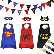3 Cpae+mask +cuff+banner SPECIAL L 27* superhero kids cape mask costume dress up party cloak batman cos-play toys for boys(China)