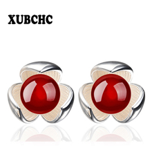 XUBCHC Egg Flowers Round Artificial Pearls White Silver Stud Earrings Fashion Jewelry for Women Best Gift(China)