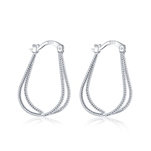 PATICO Korea Hot Sale 925 Sterling Silver Simple Loop Hoop Earrings Fashion New Swing Design For Woman Girls Fast Free Shipping