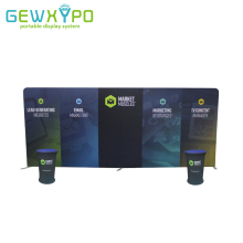 Trade Show Booth 20ft*8ft Advertising Tube Display Straight Tension Fabric Flat Backwall With Two Portable Podium Oval Table(China)