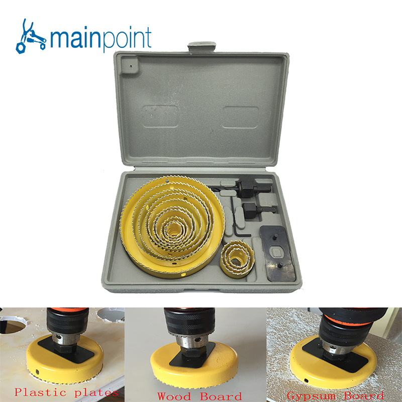 Mainpoint 16pc YELLOW Hole Saw Cutting Set Kit 3/4-5 (19mm-127mm) high quality Mandrels Saws Core Drill Bits Woodworking tools<br>