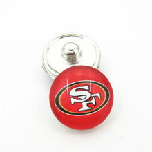 20pcs/lot San Francisco 49ers Football Team Snap Button Charms DIY 18mm Football Sports Ginger Snaps Bracelets Necklace Jewelry