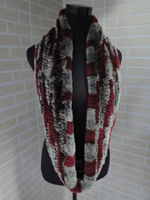 Genuine rex rabbit fur  circle scarf wrap cape black with red and white tips  shipping free