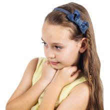 1Pc New Lovely Girl Headband Denim Ribbon Hairband Kids High Quality Fashion Bow Headbands Headwear Blue Hair Accessories