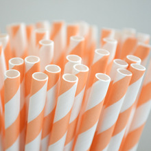 25 Peach Stripe Paper Straws Light Orange Stripe Paper Straws Perfect for Parties Favors Bar Cart Accessories Cake Pop Sticks