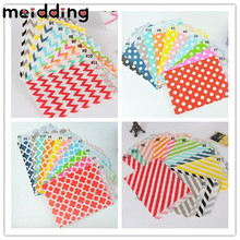 MEIDDING 100pcs Mix Flower/Dot/Stripe/Wave Shape Paper Bags Popcorn Bags Party Food Paper Bag Wedding Birthday Party Supplies