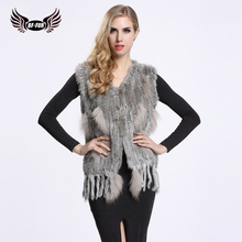 BF FUR New Fashion Ladies Genuine Knitted Rabbit Fur VestTassels Women Fur Natural Waistcoat Gilet Lady Cheap Fur Coat BF-V0003