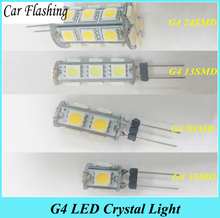 Car Flashing 10 Pcs G4 Led lamp 24SMD 13SMD 9SMD 5SMD 5050 12V High Power G4 LED Bulb Lamps warranty Chandelier light White(China)