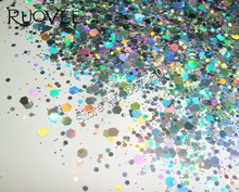 50gram Holographic Laser Silver Color Glitter Mix Hexagon Paillette Spangle Powder Shape for Nail Art Glitter Craft Decoration