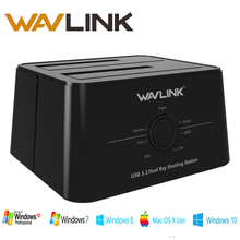 Wavlink USB 3.1 TypeC to SATA Dual Bay Docking Station 2.5/3.5 SSD HDD SATA 1/2/3 Enclosure For 2*8 TB with Offline Clone Backup(China)