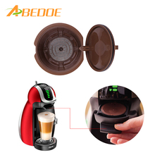ABEDOE Eco-friendly Brown Reusable Coffee Capsule Plastic Refillable Compatible Coffee Filter Baskets Soft Capsules Taste Sweet(China)