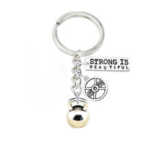 Weight Lifting kettle Bells Weight Plate 25 LBS Strong Is Beautiful Sport Key Chain Jewelry For Bodybuilder