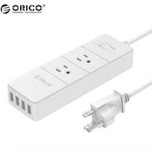 ORICO Power Strip 4 USB Surge Protector Socket for Smartphone Intelligent Recognition Patch Board with AC*2Max 1250W