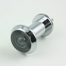 Silver Tone Metal 220 Degree Angle Door Viewer Peephole w Cover 35-55mm