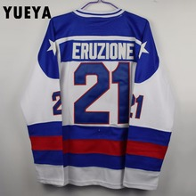 "YUEYA ""1980 Miracle On Ice"" Movie Jerseys #21 Mike Eruzione Team USA Ice Hockey Jersey Mens Cheap White S-3XL"