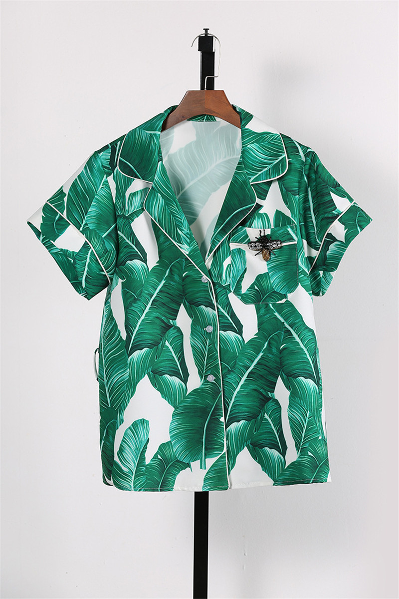 Brand Fashion Two Piece Set Women Runway Suit Fashion Green Leaf Print Dragonfly Beading Shirt + Elastic Waist Pants Sets 11