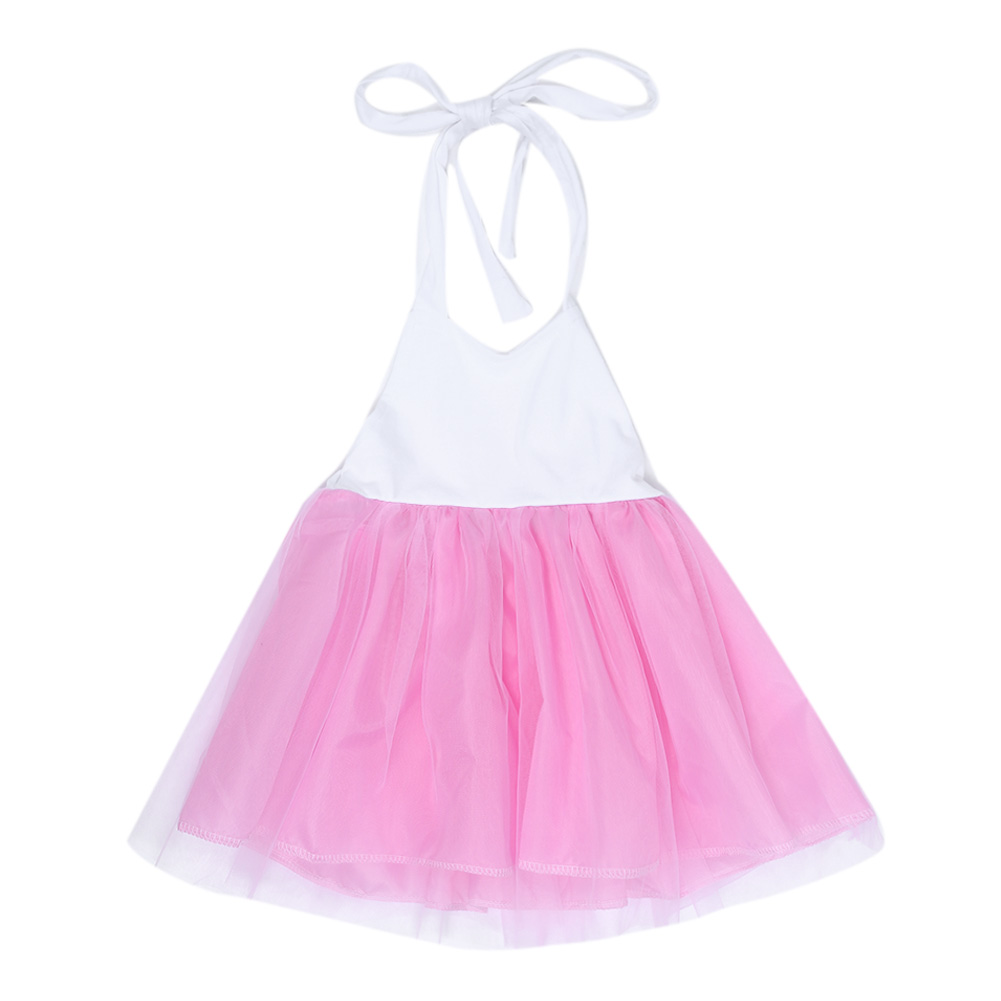 Fashion New Baby Girls Pink Summer Dress Kids Girls Princess Party Mesh Lace Tulle Halt Gown Formal Wedding Dresses 1Y-6Y Girls 14