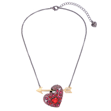 New Trendy Jewelry Black Gold Gun Chain Summer Necklace Romantic Lovely Big Red Heart Arrow Necklace For Girlfriend