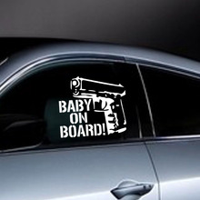 New Design Car Styling Stickers Baby on Board Gun Creative Funny Decoration Auto Accessories Red Blue Rose Brown Black