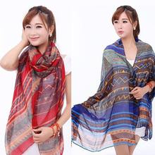 Trendy Scarves Accessories Blue&Red Aztec Printed Long Tribal Ladies Scarves Geometric Shawls And Scarves(China)