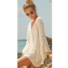 2015 Summer Speaker sleeve V-neck Beach Dress Long Sleeve  Lace Holiday Sun Dress