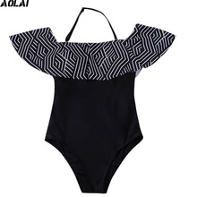 Off Shoulder One Piece Swimsuit Women 2017 Black Swimwear Push Up Swimming Suit Trikini Flounce Bathing Suit Geometric Monokini