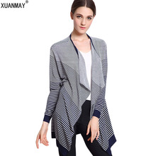 2017 Spring and Autumn Women's Sweater Long section loose Coat black and white Striped Sweater Shawl Cardigan Fashion Sweate