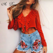 As Daisy Ruffled Flare Long Sleeve Women Blouses Summer 2017 White Orange Crop Tops For Women Blusas Lace Up Sexy Top BS1767