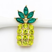 New arrival Yellow and Green Crystal Rhinestone Fruit Pineapple Brooch Pins for Girl in Gold Color Plated(China)