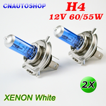 H4 Halogen Bulb 12V 60/55W Super White Car Fog Lamp 2 PCS Dark Blue Glass Stainless Steel Base