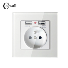 Coswall 2017 New 16A French Standard Wall Power Socket White Crystal Glass Panel Outlet 2.1A Dual USB Charger Port for Mobile()