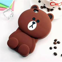 3D Cartoon Animal Tiny Brown Bear Soft Silicone Case Cover For Samsung Galaxy S5 S6 Edge S7 A5 A510 A7 A710 J5 J5108 J710 2016(China)