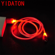 YIDATON Luminous Charger Cable LED Light Android Micro USB V8 Charging Data Synchronous For Samsung Smartphone Cable