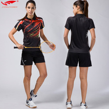 2017 Quick dry table tennis clothing women badminton shirt badminton clothes (shirt + shorts) suits, lady sports fitness tennis(China)
