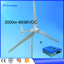 2017 Hot Selling Wind Generator 2KW 48V with 3Blade, 1KW Wind Turbine with Tail Turned Brake Protection, 3M/S Start Wind Speed(China)