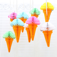 34x21cm Ice Cream Honeycomb Balls Paper Lanterns Wedding Decorations Kid Baby Shower Favors/Event Party/Birthday Party Supplies