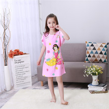 Children summer Nightgown lovely girls short sleeved nightdress kids Home Furnishing clothing Big Student Girls Princess Dress
