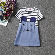 DreamShining Girls Dress Fashion Striped Patchwork Kid Princess Dresses Summer Girls Clothes Costume Infant Baby Denim Dress