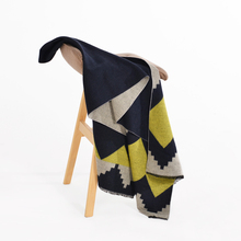 Winter Scarf Women's Cashmere Blanket Black&Yellow Pashmina Wave Printed Large Poncho Foulard Shawl 200*67cm 2017 New Warmer(China)