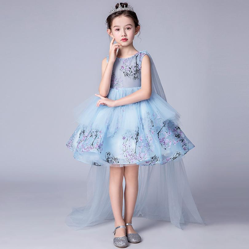 Elegant Flower Girl Tutu Dress for Wedding and Birthday Party Teenager Girl Evening Prom Gowns Baby Girl Princess Costume Y694
