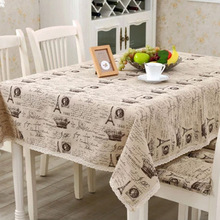 Drop Shipping Tablecloth Letters Dark European Style Table Cloth Cotton Line Lace Edge Table Cover Rectangular Feb 11