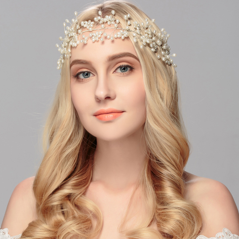 NewPearl Beads Crystal Pearl hair band Wedding Bridal Headbands With Ribbon Vintage Hair bands HX050<br>