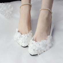 White Lace Pearl Flat Flower Bride and Bridesmaids Wedding Shoes Women's Shoes female Shoes appliques Shoes Large Size 41-52