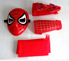 6sets/lot Cosplay Halloween Make up Toy Child shield mask ball props toy spider man mask set + wristband +cloak Birthday gift(China)