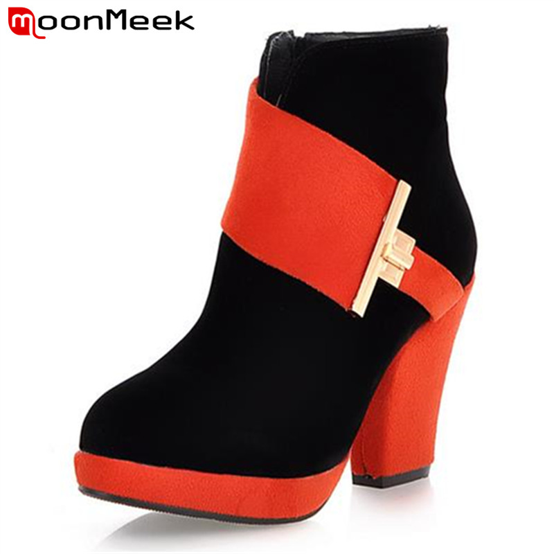 MoonMeek Leisure three colors mixed colors thick high heel women dress zip ankle boots fashion round toe big size winter boots<br>